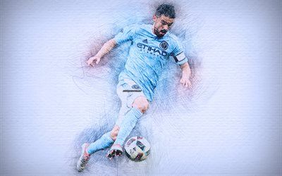 David Villa, 4k, artwork, football stars, New York City FC, Villa, soccer, MLS, LA Galaxy, footballers, drawing David Villa