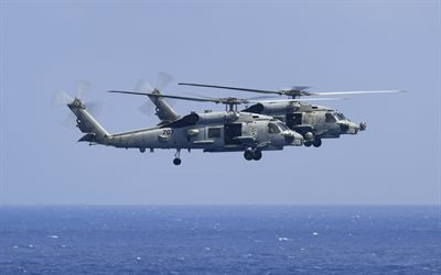 Sikorsky MH-60R Sea Hawks, Deck military helicopters, US Navy, pair of transport helicopters, USA