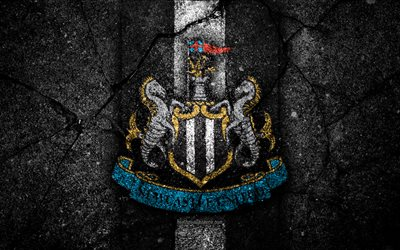 O Newcastle United FC, 4k, logo, Premier League, grunge, Inglaterra, a textura do asfalto, Newcastle United, pedra preta, futebol
