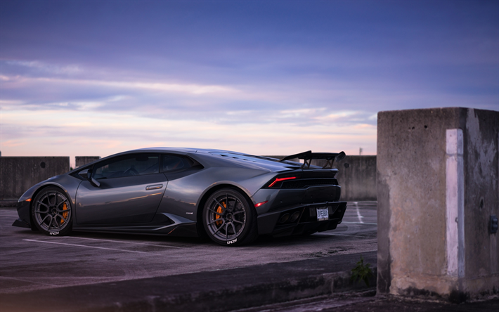 Download Wallpapers Lamborghini Huracan Gray Supercar