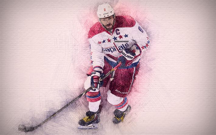 Alex Ovechkin 4k Artwork Ovi Hockey Stars Washington Capitals NHL