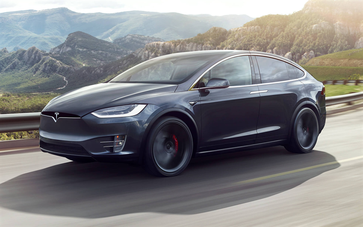 Tesla Model X, 2019, electric crossover, Model X exterior, new gray Model X, electric car, american cars, Tesla