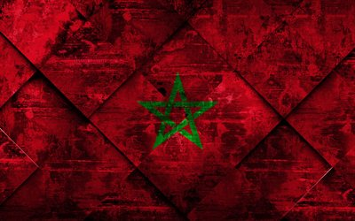 Flag of Morocco, 4k, grunge art, rhombus grunge texture, Morocco flag, Africa, national symbols, Morocco, creative art