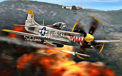 North American P-51 Mustang, American fighter, military aircraft, F-51D, USAF