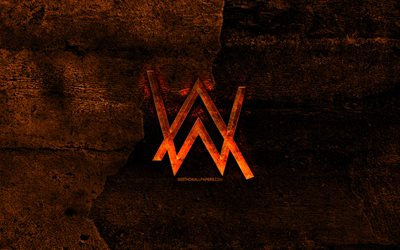 Alan Walker fiery logo, orange stone background, Alan Walker, creative, Alan Walker logo, brands