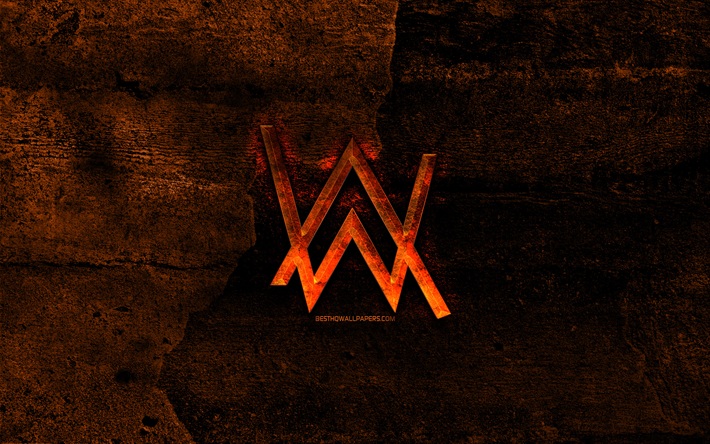 alan walker fiery-logo, orange stein hintergrund, alan walker, creative, alan walker-logo, marken