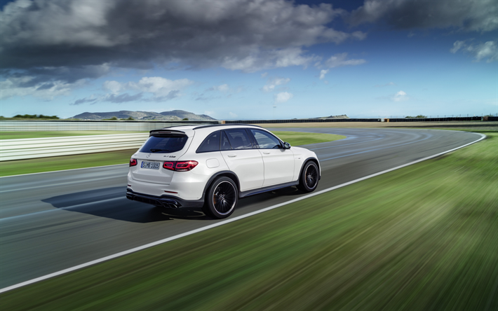 Mercedes-Benz GLC 63S, 2019, white crossover, tuning, racing track, new white GLC, Mercedes-AMG, 4Matic, GLC 63S