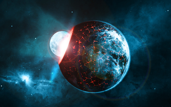 Download Wallpapers 4k Explosion Of Earth Asteroid