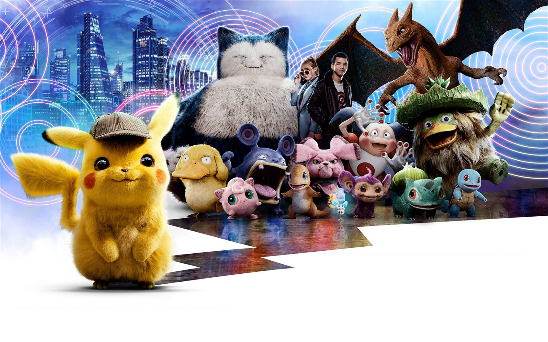 Pokemon, Detective Pikachu, 2019, poster, promotional materials, all characters, creative art