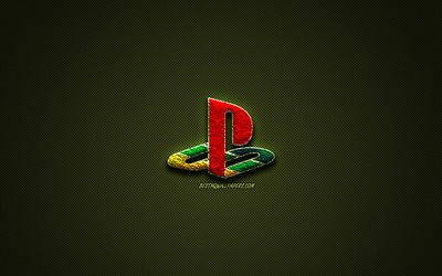 PlayStation logo, green creative logo, PS4, floral art logo, PlayStation emblem, green carbon fiber, PlayStation, creative art