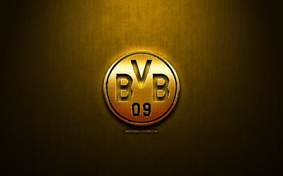 Borussia Dortmund FC, yelow metal background, Bundesliga, german football club, fan art, Borussia Dortmund logo, football, soccer, BVB, Germany