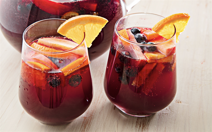 Sangria, Spanish national drink, glasses with sangria, Red wine