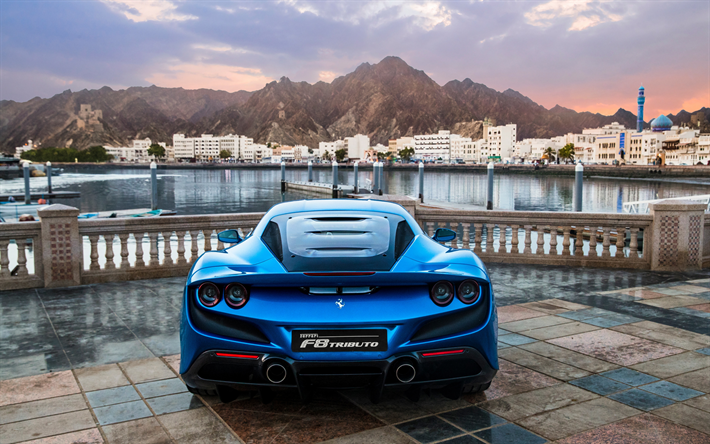 Ferrari F8 Tributo, 2019, italian supercar, new blue F8 Tributo, rear view, italian sports cars, Ferrari