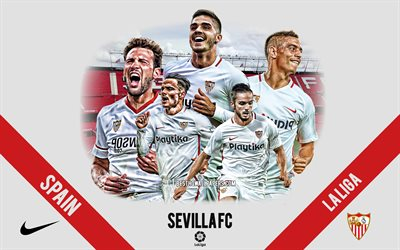 Sevilla FC, Spanish football club, football players, leaders, Sevilla logo, emblem, La Liga, Sevilla, Spain, creative art, football, Andre Silva, Wissam Ben Yedder