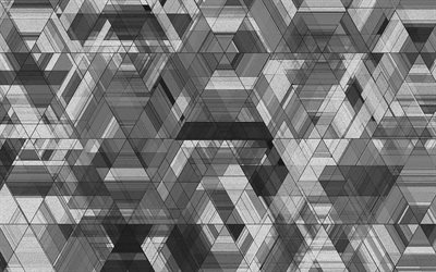 4k, triangles textures, gray triangles, geometry, gray backgrounds, gray abstract background, geometric shapes, triangles