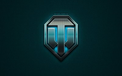 World of Tanks glitter logo, WoT, games brands, creative, blue metal background, World of Tanks logo, brands, World of Tanks