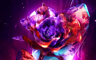 purple 3D rose, 4k, neon lights, artwork, 3D art, cretive, 3D flower, abstract rose, abstract flowers