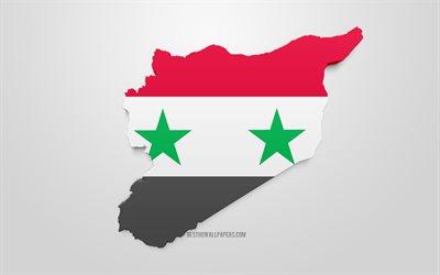 Lataa Kuva 3d Lipun Alla Syyriassa Kartta Siluetti Syyria 3d Art
