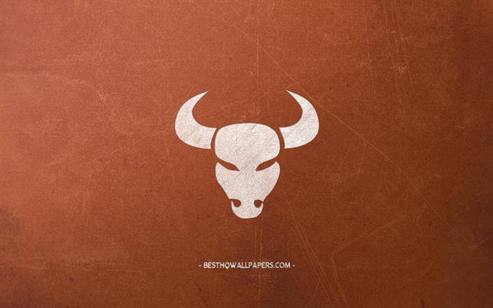 Download wallpapers Taurus zodiac sign, brown retro