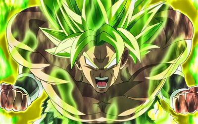4k, Broly, green fire, Dragon Ball, artwork, DBS, Dragon Ball Super, DBS characters, Broly 4k