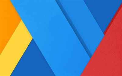 material design, blue and red, colorful triangles, geometric shapes, lollipop, triangles, creative, strips, geometry, blue backgrounds