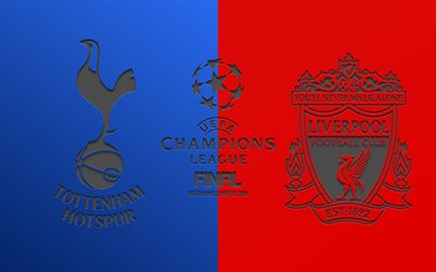 Tottenham Hotspur FC vs Liverpool FC, football match, promo, 2019 UEFA Champions League Final, red-blue background, logos, carbon fiber texture, Tottenham vs Liverpool