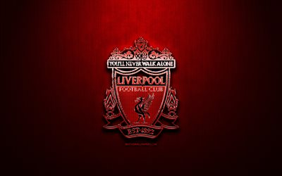 Liverpool FC, red metal background, Premier League, english football club, fan art, Liverpool logo, football, soccer, Liverpool, England