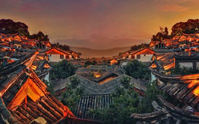 Chinese village, 4k, sunset, cityscapes, asian village, China, Asia