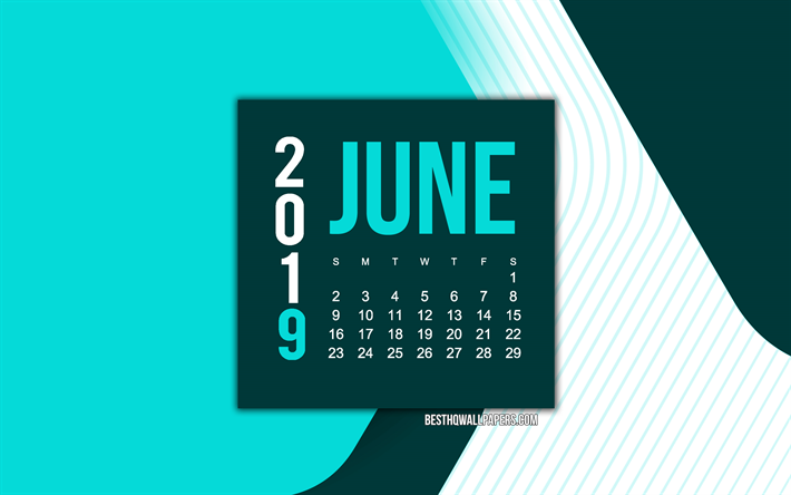 2019 June Calendar, turquoise abstract background, turquoise geometric background, material design, 2019 calendars, June, creative art calendar for June 2019, turquoise creative background