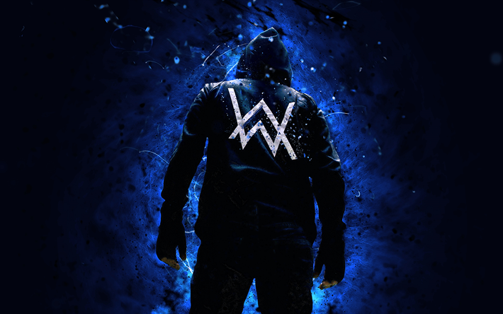 Alan Walker, 4k, superstars, blue neon lights, DJ Alan Walker, back view, DJs, Alan Olav Walker, Alan Walker 4K, fan art
