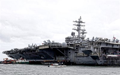 USS Ronald Reagan, CVN-76, Nimitz, american aircraft carrier, US Navy, nuclear-powered supercarrier, United States Navy, American warships, aircraft, deck of aircraft carrier, USA