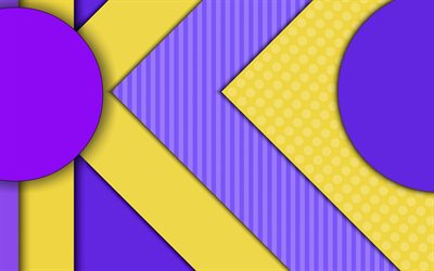 material design, violet and yellow, geometric shapes, lollipop, lines, geometry, creative, strips, violet backgrounds, abstract art