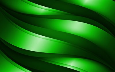 green 3D waves, abstract waves patterns, waves backgrounds, 3D waves, green wavy background, 3D waves textures, wavy textures, background with waves