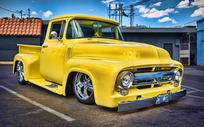 Ford F-100, amarelo pickup, HDR, 1956 carros, retro carros, personalizado F-100, tuning, 1956 Ford F-100, caminhonete, Ford F-Series, low rider, Ford F100, os carros americanos, Ford