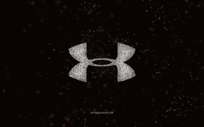 Under Armour glitter logo, black background, Under Armour logo, white glitter art, Under Armour, creative art, Under Armour white glitter logo