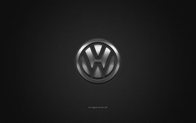 Volkswagen logo, silver logo, gray carbon fiber background, Volkswagen metal emblem, Volkswagen, cars brands, creative art