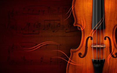 violin, music concepts, creative, 3D art, sheet music, abstract art, musical instruments