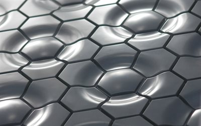 hexagons wavy background, gray hexagons, 3D textures, gray hexagons background, 3D waves, hexagons patterns, hexagons textures, black backgrounds, honeycomb, hexagons, background with hexagons