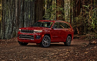 2021, Jeep Grand Cherokee L, front view, red SUV, new red Grand Cherokee L, american cars, Jeep
