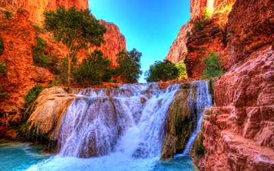 Beaver Falls, 4k, cliffs, mountains, summer, Grand Canyon National Park, Arizona, american landmarks, USA, America, beautiful nature