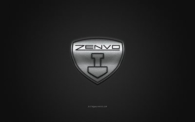 Zenvo logo, silver logo, gray carbon fiber background, Zenvo metal emblem, Zenvo, cars brands, creative art