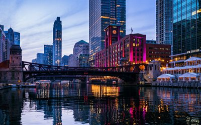 Chicago, 4k, water channel, american cities, USA, nightscapes, Chicago in evening, America