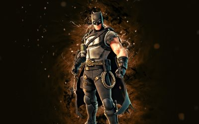 Batman Zero, 4k, brown neon lights, Fortnite Battle Royale, Fortnite characters, Batman Zero Skin, Fortnite, Batman Zero Fortnite