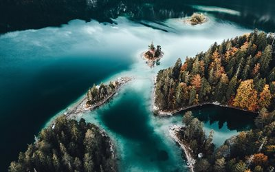 Germany, aerial view, lakes, autumn, beautiful nature, Bavaria, Europe, forest, german nature