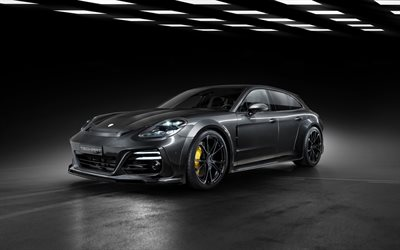2021, TechArt GrandGT, Porsche Panamera, 4k, exterior, Panamera tuning, German sports cars, new black Panamera, Porsche