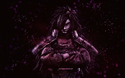 Madara Uchiha, purple glitter art, Naruto characters, protagonist, black background, Naruto, Japanese manga, Uchiha Madara, samurai, Madara Uchiha Naruto