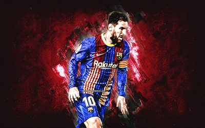 Lionel Messi, Argentine footballer, FC Barcelona, Lionel Messi art, burgundy stone background, football, La Liga, Spain, Leo Messi art