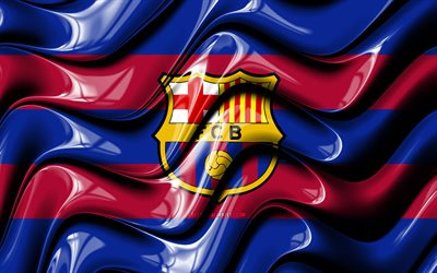 FC Barcelona flag, 4k, red and blue 3D waves, LaLiga, spanish football club, football, FC Barcelona logo, FCB, Barcelona FC, La Liga, soccer, FC Barcelona