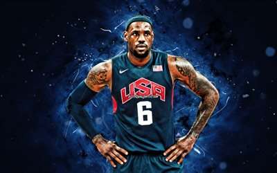 LeBron James, 4k, USA Basketball Mens National Team, blue neon lights, LeBron Raymone James, US mens national basketball team, creative, LeBron James 4K