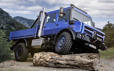 Mercedes-Benz Unimog, U4023, truck SUV, new blue Unimog, exterior, German trucks, Mercedes